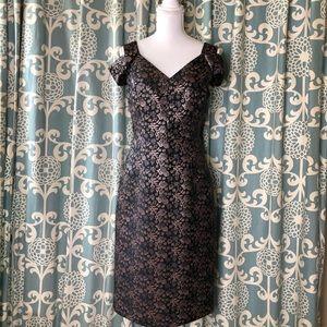 Maggy London Black & Gold Metallic Dress